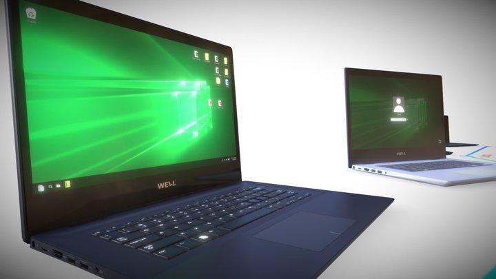 Laptop 14'' - Game Ready / PBR / LODs 3D Model
