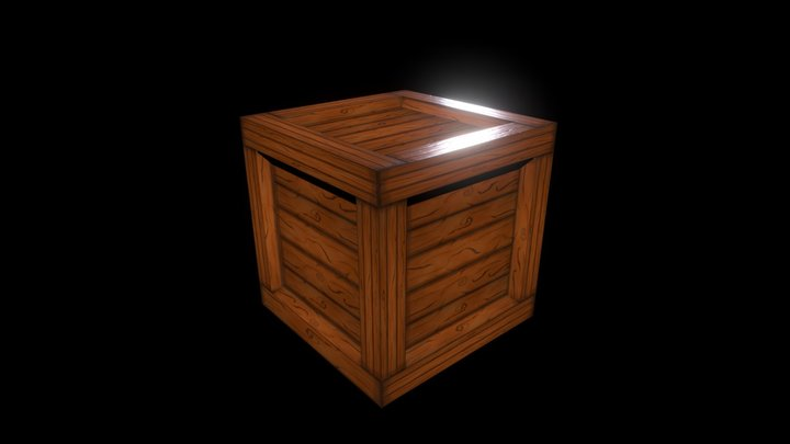 Crate with hand painted wood texture 3D Model