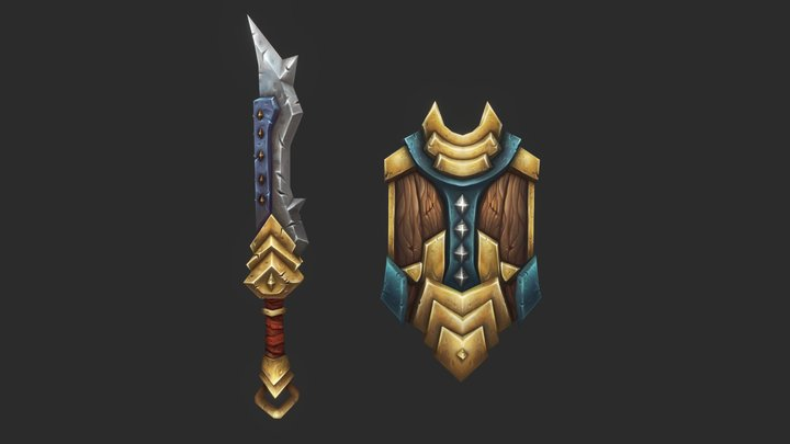 Handpainted Sword and Shield 3D Model