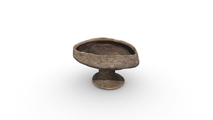 Drinking vessel – bowl on stem, wood. 3D Model