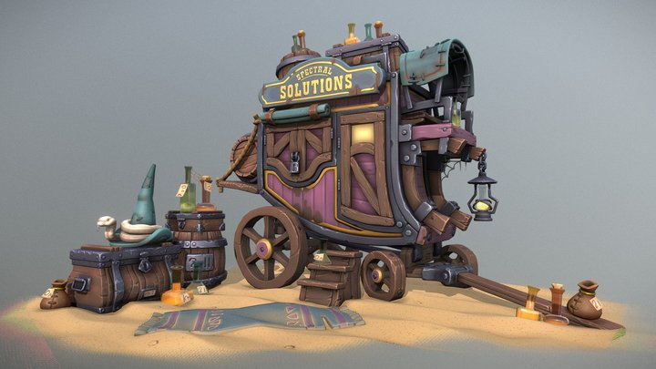 The Potionmaster's Stagecoach & Wares 3D Model