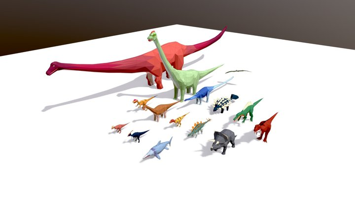 Low Poly Dinosaurs Pack 3D Model