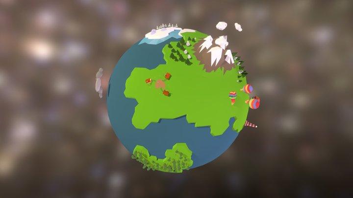 Low Poly Planet 3D Model