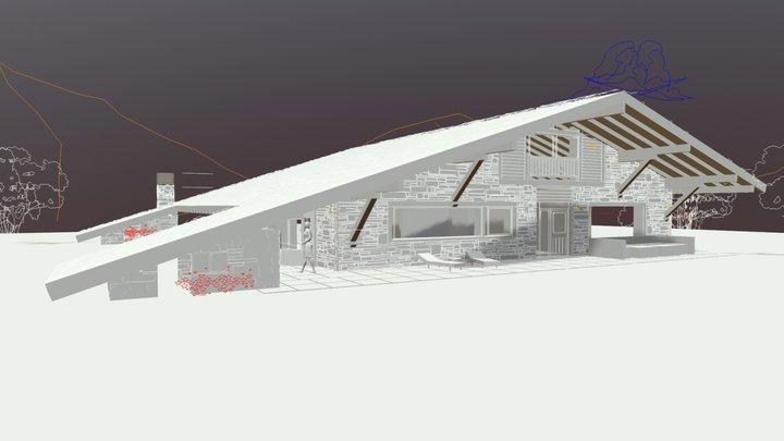 Casa del tejado hasta el suelo version 32 3D Model