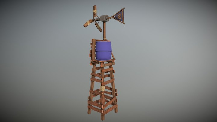Handpainted Windmill Tower 3D Model