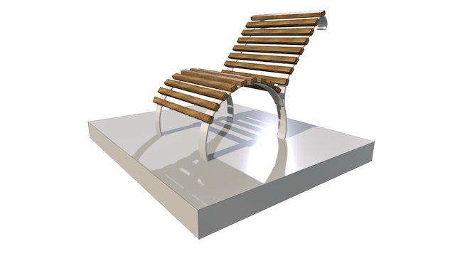 Banc metal et bois simple de forme 3D Model