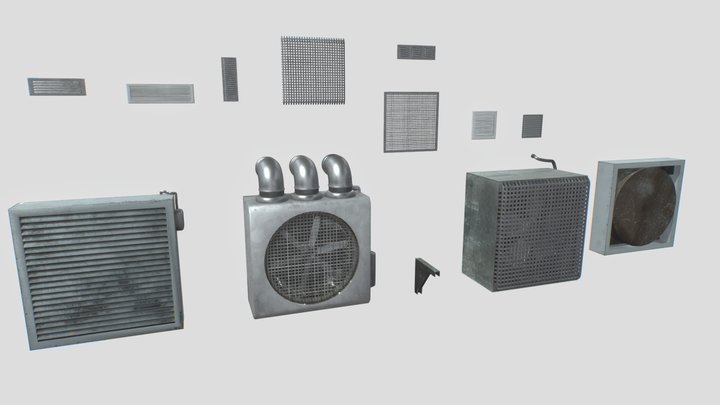 Industrial Exhaust Fans and vents pack 3D Model