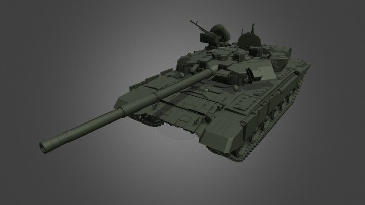 T-90 Russian Battle Tank 3D Model