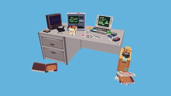 Messy Desk 3D Model