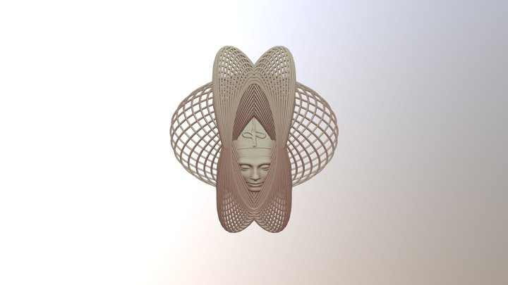 Enneper Curve Art + Nefertiti (001c) 3D Model