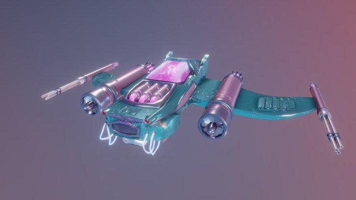 Retro Futuristic Spaceship - Elsa 3D Model