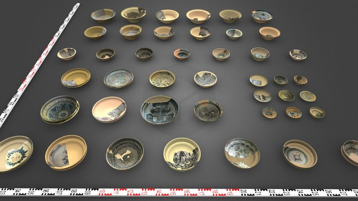 The collection of plates and bowls 3D Model