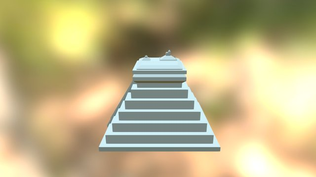 Mayan Pyramid With Ornate Roof 3D Model