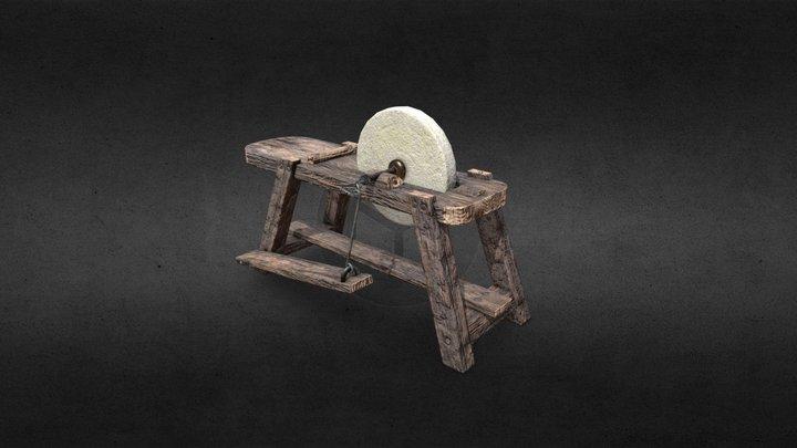 Medieval Grindstone 3D Model