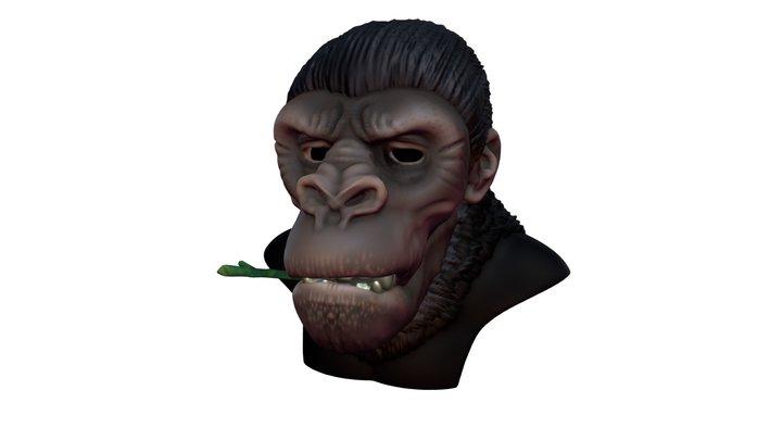 Gorilla bust with blendshapes 3D Model