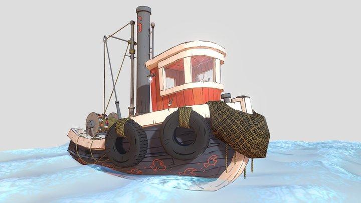 Stylized fishing boat 3D Model