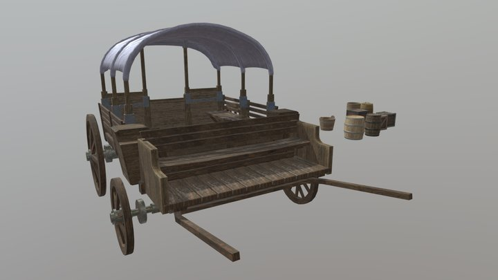 Horse Carriage and Props 3D Model