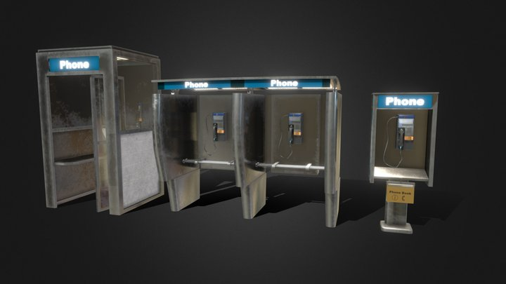 Pay Phone Booth 3D Model