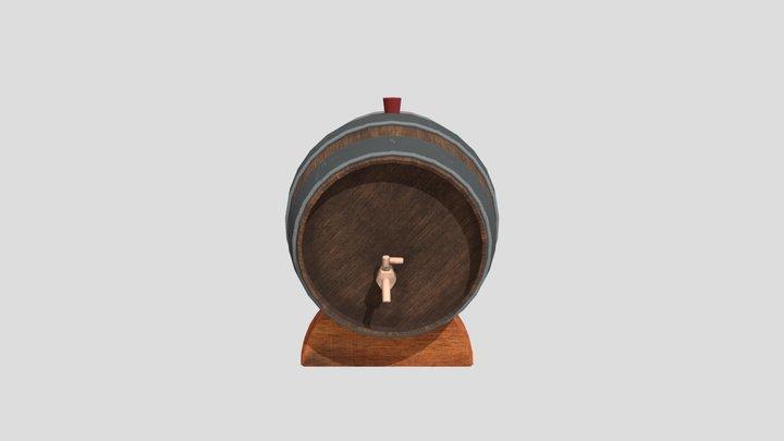 Wood Barrel With Base 3D Model