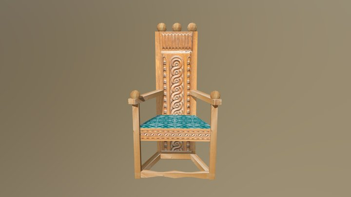 Medieval Triangular Chair 3D Model