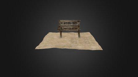 Old Wooden Sign Board 3D Model