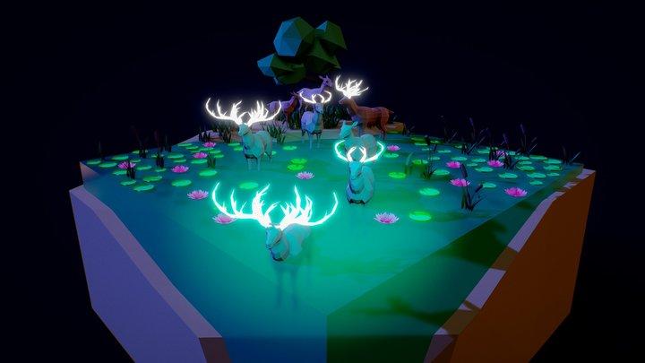 Deer in Turquoise Water 3D Model