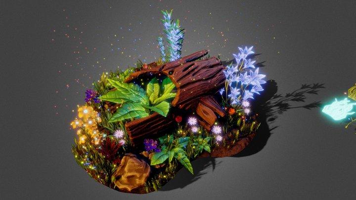 Stylized log and plants 3D Model