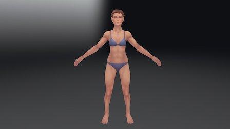 Female Figure Base Mesh W/ Hair 3D Model