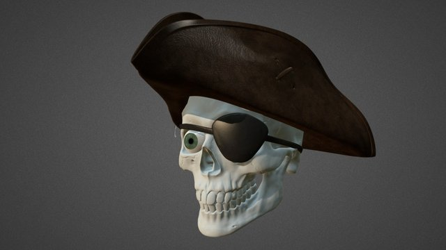 Pirate Skelly Head 3D Model