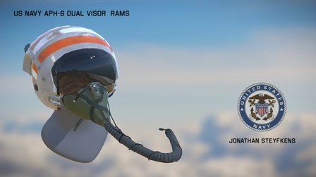 US Navy APH-6 Dual Visor Rams Helmet 3D Model