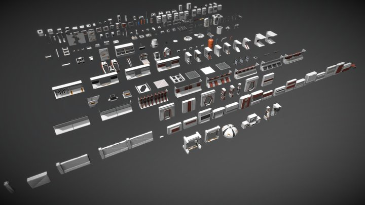 Retro Modular Sci-fi Environment Kit-bash 3D Model