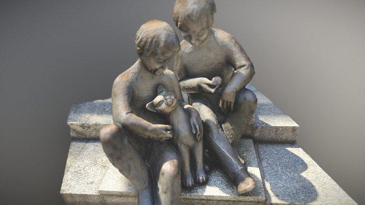 Bronze Skulptur von zwei Kindern und einer Katze 3D Model