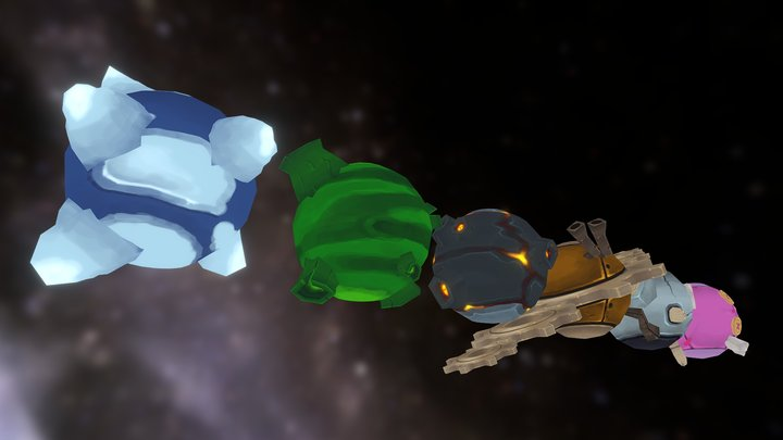 Fantasy Planets 3D Model
