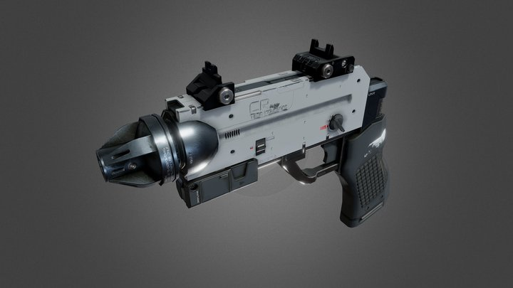 Sci-Fi Laser Pistol - Animated 3D Model
