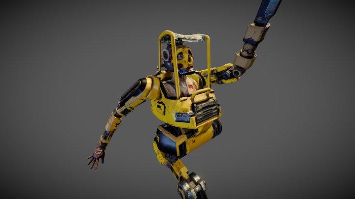 Samurai cyborg construction worker 3D Model