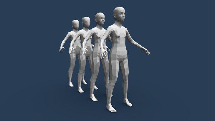 Low Poly Girl Base Mesh 3D Model