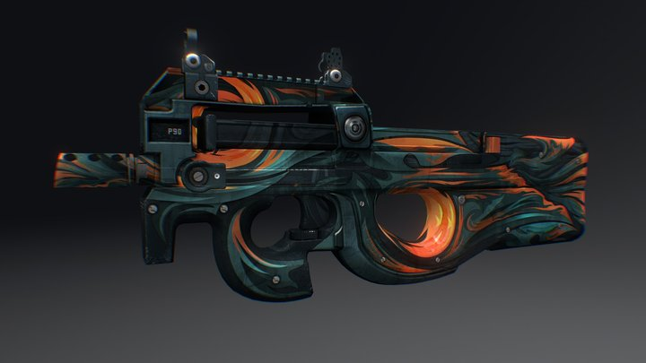 P90 || Fire Fox 3D Model