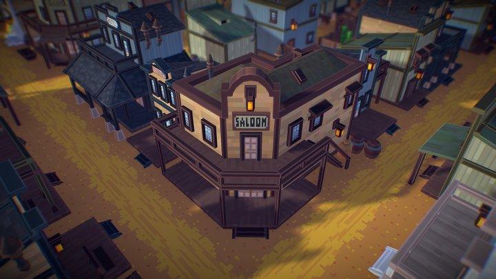 Western Pixel Town 3D Model