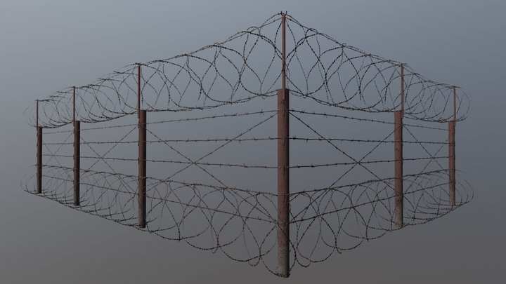 Old rusted barbwire fence 3D Model