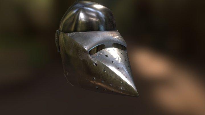 Knight's Bascinet Helmet 3D Model