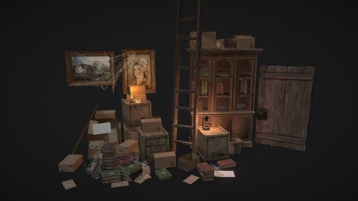 Old Wooden Cottage - Props Part01 3D Model