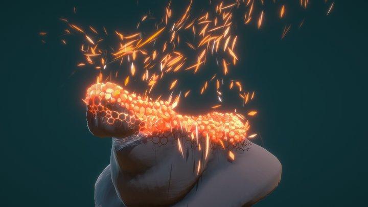 Animation Disintegration Houdini Effect 3D Model