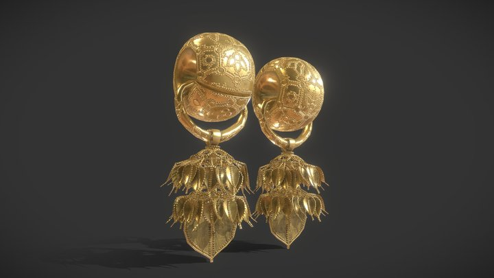 Korea National Treasure_090_경주 부부총 금귀걸이 3D Model