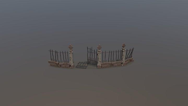 Night cemetery. Fence 3D Model