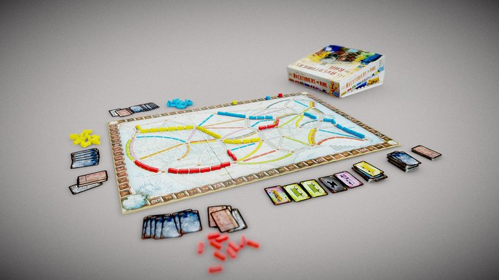 Ticket to ride boardgame 3D Model