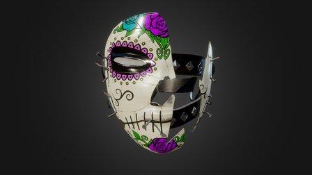 Broken Mask Purple Sugar Skull Theme 3D Model