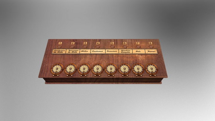 Pascaline - Primeira Calculadora Mecânica 3D Model