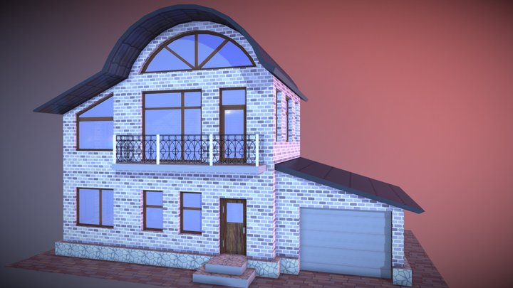 Arc-Roofed House 3D Model