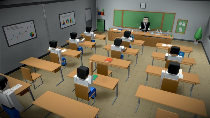 SimplePoly School Interiors - Low Poly Assets 3D Model