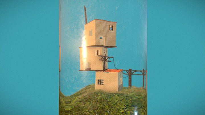 Stacked Houses in a Test Tube Diorama 3D Model